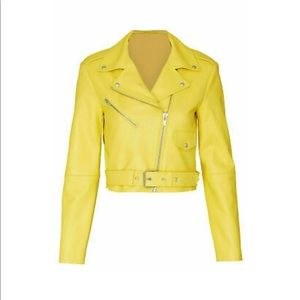 VEDA Sunny Yellow Cropped Leather Jacket